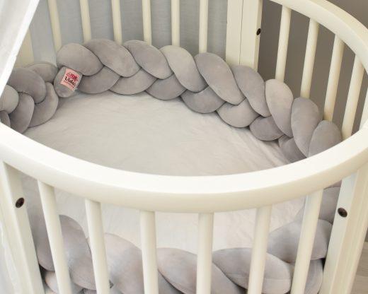 3 Flettet sengekant grå passer perfekt i stokke mini