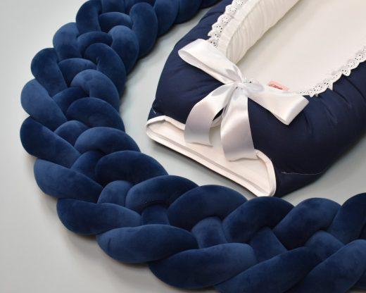 Flettet sengekant, marine blå med 4 fletter