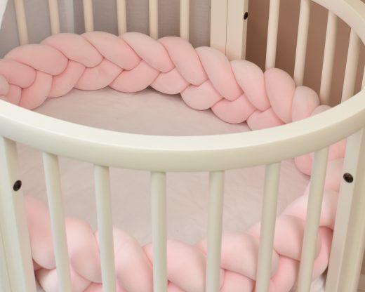 3 Flettet sengekant rosa passer perfekt i stokke mini